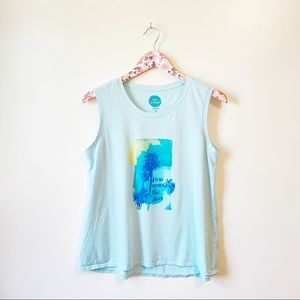 LIFE IS GOOD Here Comes The Sun Blue Tank Top M